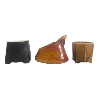 Vintage Mid-Century Modern Studio Pottery Bud Vases - Set of 3