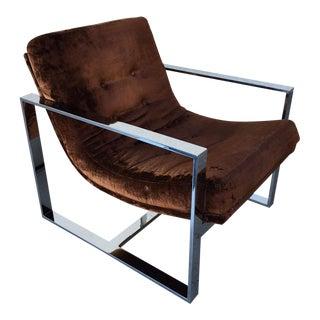 1970s Vintage Milo Baughman Chrome Bar Club Chair For Sale
