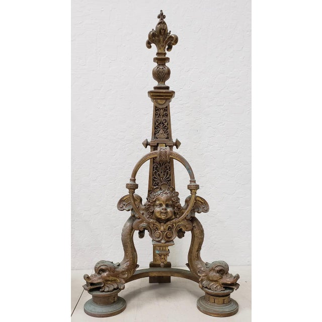 Gold Late 19th Century French Baroque Bronze Chenets / Andirons - a Pair For Sale - Image 8 of 12