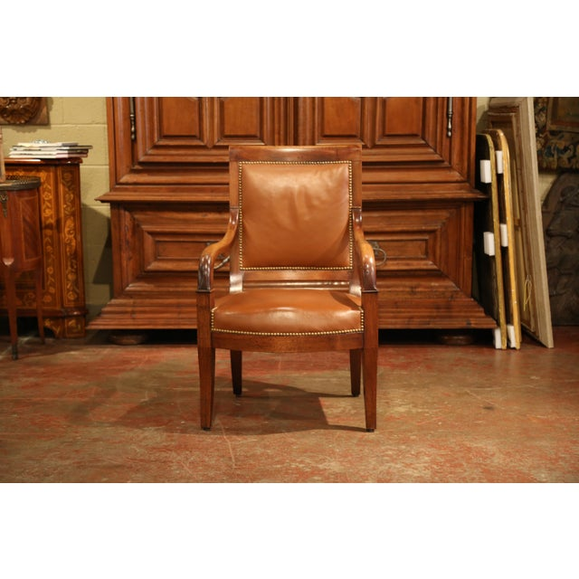 French 19th Century French Directoire Carved Walnut Desk Armchair With Brown Leather For Sale - Image 3 of 9