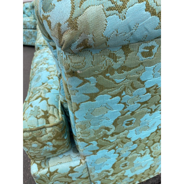 Teal Vintage Tufted Floral Chesterfield Sofa For Sale - Image 8 of 13