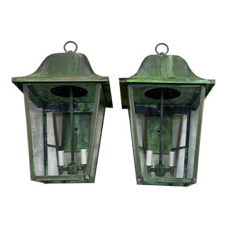 Handcrafted Brass Wall-Mounted Lanterns - a Pair For Sale