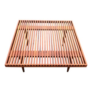 Mel Smilow Walnut Square Slat Bench Coffee Table 30 X 30 Mid Century Modern Brooklyn For Sale