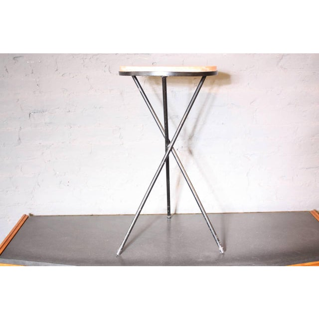 French Marble-Top Table with Iron Base - Image 3 of 7