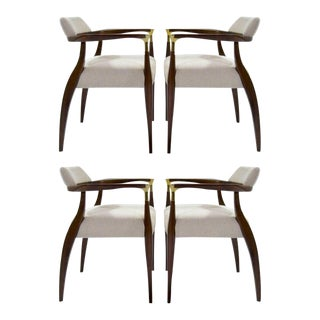 Set of Four Modern Brass-Accented Walnut Armchairs, 1950s For Sale