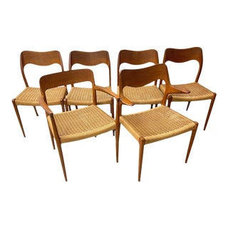 1960s Danish Modern Jl Moller Chairs with Caning - Set of 6 For Sale