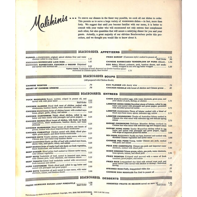 Authentic 1941 menu from the 'Malihinis.' Includes drinks & entrees.