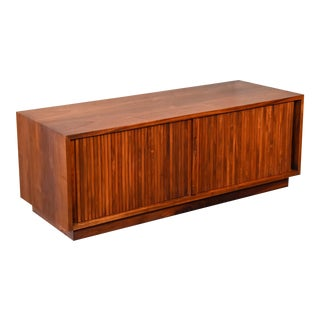 Low Walnut Tambour Cabinet by Glenn of California