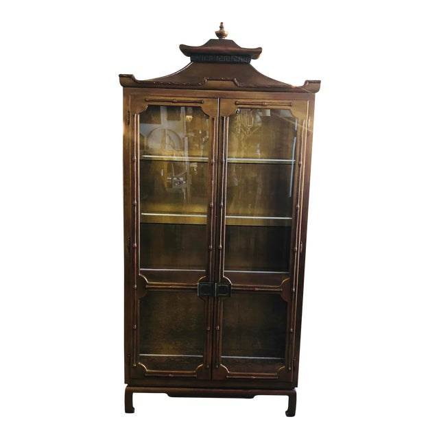 James Mont Chinoiserie Pagoda Curio Cabinet For Sale