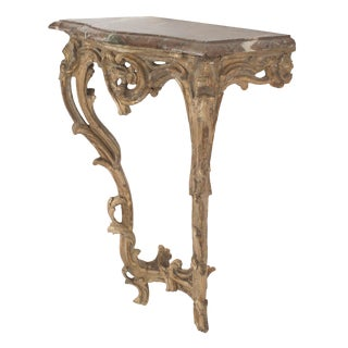Italian Rococo Brown Marble Console Table For Sale