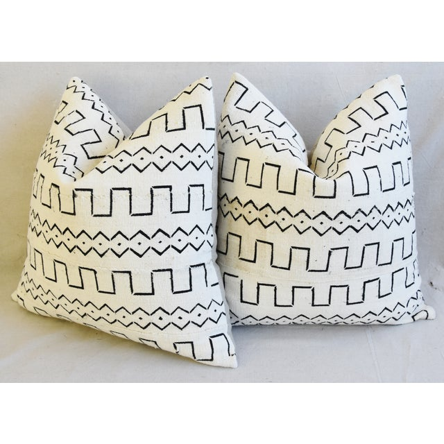 "Organic Neutral & Black Mali Tribal Mud Cloth Feather/Down Pillows 22"" Square - Pair For Sale - Image 10 of 13"