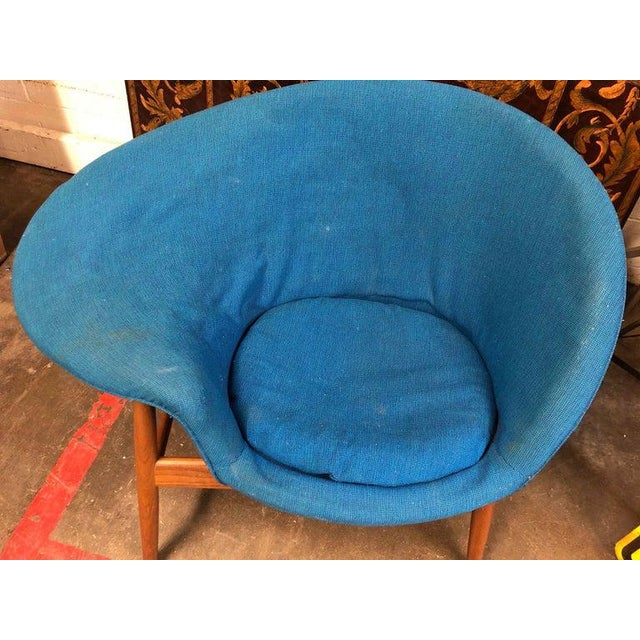 Blue Hans Olsen Fried Egg Chair With Teak Frame, Circa 1956 For Sale - Image 8 of 10