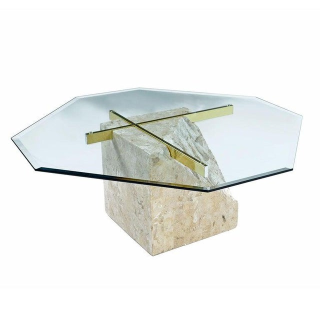 Stunning tessellated stone square pedestal coffee table in the style of Maitland-Smith. Super-sleek, elegant and classic...