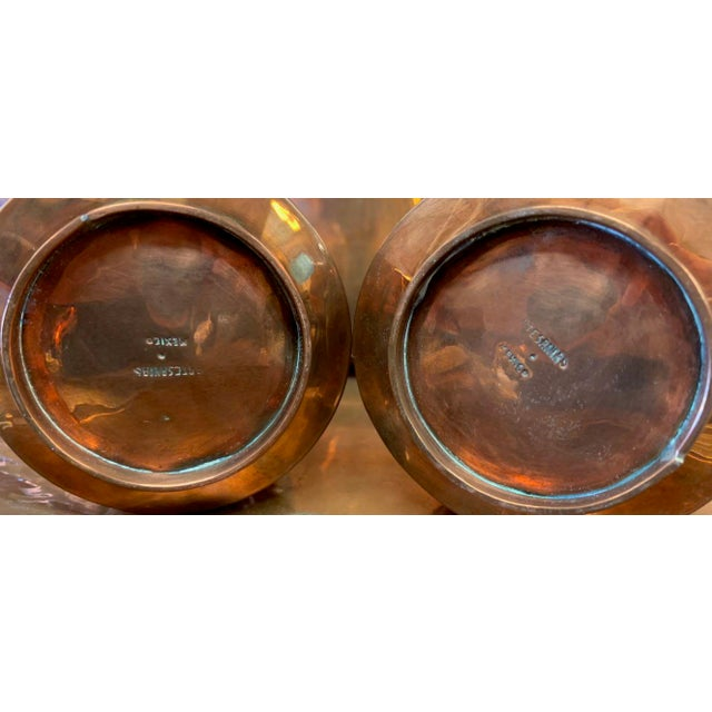 Metal Artisanias Mexico Copper & Silver Coffee Set of 4 For Sale - Image 7 of 13