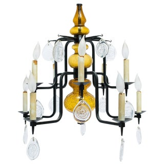 Erik Hoglund Art Glass Chandelier For Sale