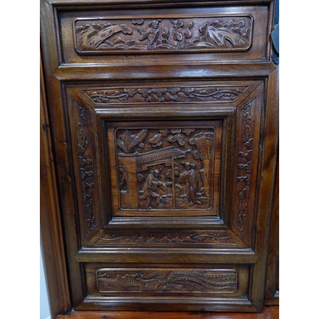 Brown Chinese Carved Teak Wood Cabinet For Sale - Image 8 of 12