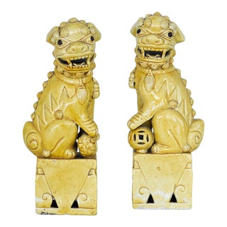1960s Yellow Foo Dogs - a Pair For Sale