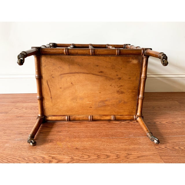 Wood Hollywood Regency Faux Bamboo Magazine Racks For Sale - Image 7 of 8