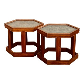 John Keal for Brown Saltman Hexagonal Side Tables - a Pair For Sale