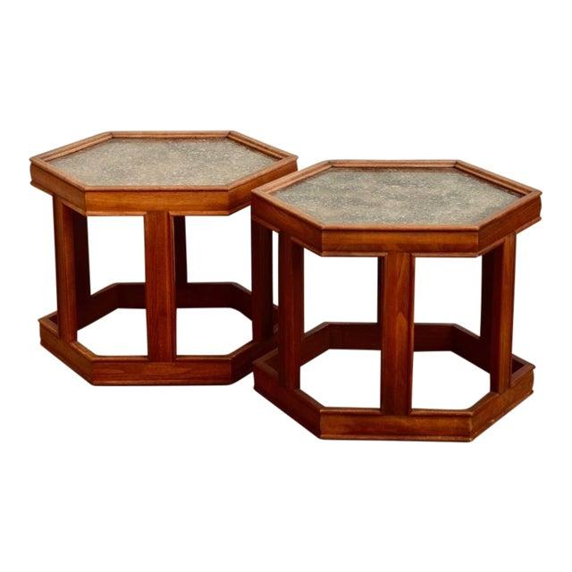 John Keal for Brown Saltman Hexagonal Side Tables - a Pair For Sale