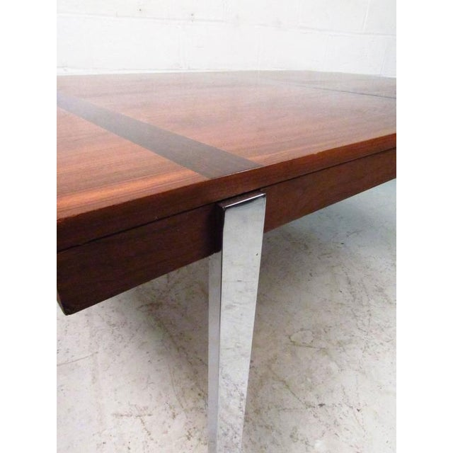 Chrome Mid-Century Rosewood Inlay Dining Table For Sale - Image 7 of 8