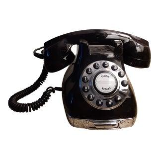 """1980s Vintage """"Metro"""" Mid Century Deco Style Black Phone For Sale"""