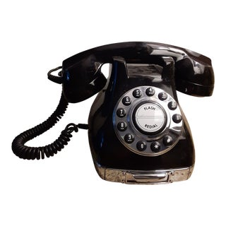 """1980s Vintage Never Used """"Metro"""" Mid Century Deco Style Black Phone For Sale"""