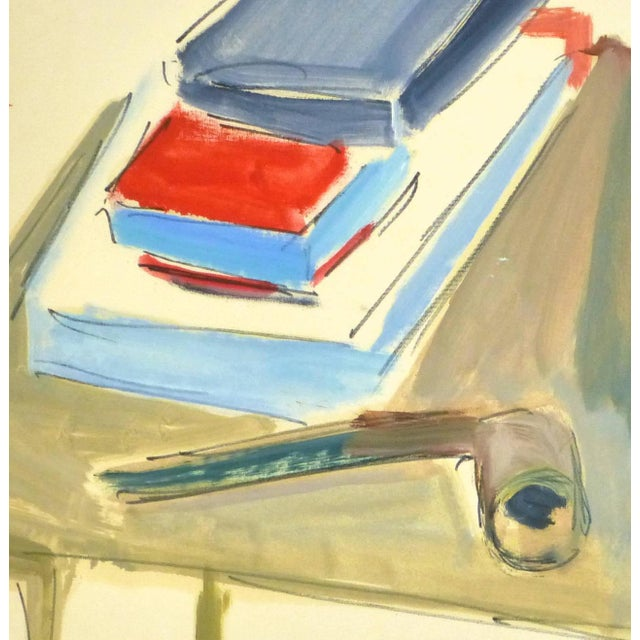 Boldly colored acrylic still life painting of stacks of books and pipe atop a table by French artist Madeleine Scali...