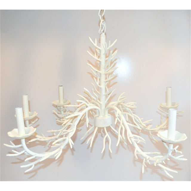 Boho Chic White 5 Arm Faux Coral Chandelier For Sale - Image 3 of 10