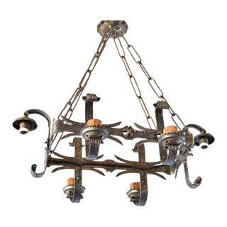Rectangular Iron Chandelier For Sale