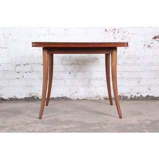 Harvey Probber Mid-Century Modern Mahogany Saber Leg Flip Top Extension Dining or Game Table Preview