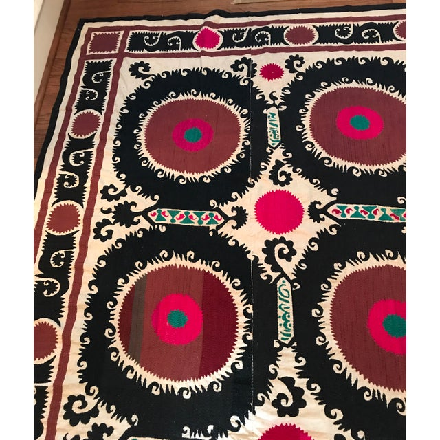 Vintage Uzbek Suzani Hand Embroidered Wall Hanging For Sale In Dallas - Image 6 of 11