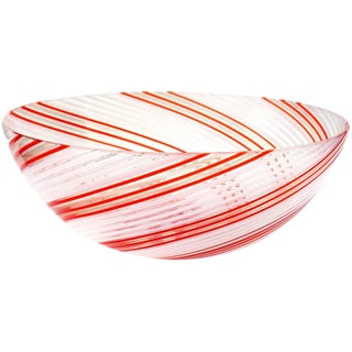 Dino Martens Aureliano Toso Murano Red Orange White Italian Art Glass Bowl For Sale