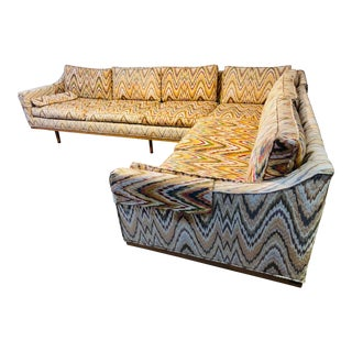1970s Custom Sectional Flame-Stich Upholstered and Teak Two Piece Sofa For Sale