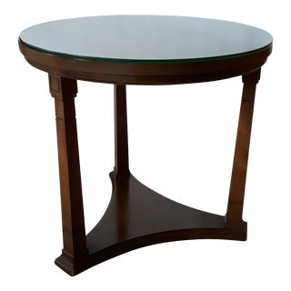 Mid-Century Modern Round Wood End Table For Sale