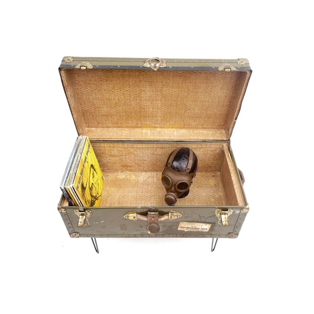 Vintage Military Steamer Trunk Coffee Table Hairpin Legs