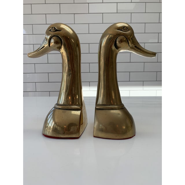 Metal Vintage Mid Century Modern Oversized Brass Mallard Duck Bookends - a Pair For Sale - Image 7 of 8