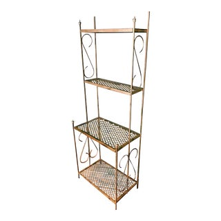 Vintage Gold Metal Four-Tier Standing Shelf For Sale