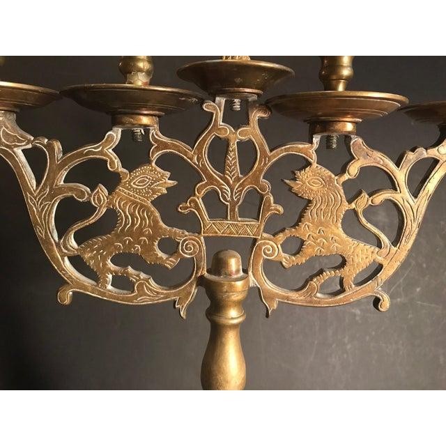 Antique Brass Sabbath Candelabra For Sale - Image 9 of 12