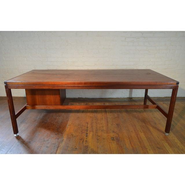 Jens Risom Designs Walnut Executive/Partner's Desk For Sale - Image 5 of 7