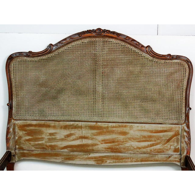 French Louis XV Style Twin Carved Caned Back Bed - Image 6 of 6
