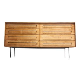 Milo Baughman for Murray Eight-Drawer Chest in Maple and Iron For Sale