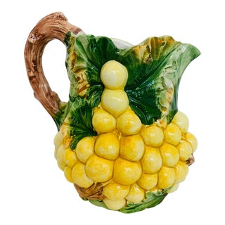Italian Majolica Yellow Grape Pitcher Made for Neiman Marcus For Sale