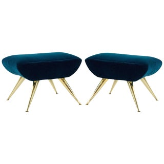 1950s Sputnik Footstools in Aqua Velvet - a Pair For Sale