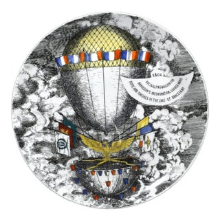 Vintage Piero Fornasetti Mongolfiere (Hot Air) Balloon Porcelain Plate, #12 in Series, 1950's.