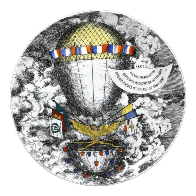 Vintage Piero Fornasetti Mongolfiere (Hot Air) Balloon Porcelain Plate, #12 in Series, 1950's. For Sale