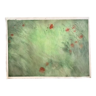 Grass Floral Watercolor Painting For Sale