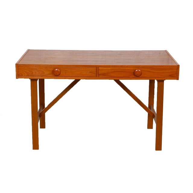 Danish Modern Compact Teak Two Drawer Desk - Image 1 of 6