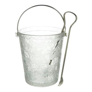 Fostoria Oak Leaf Clear Ice Bucket With Detachable Handle and Tongs