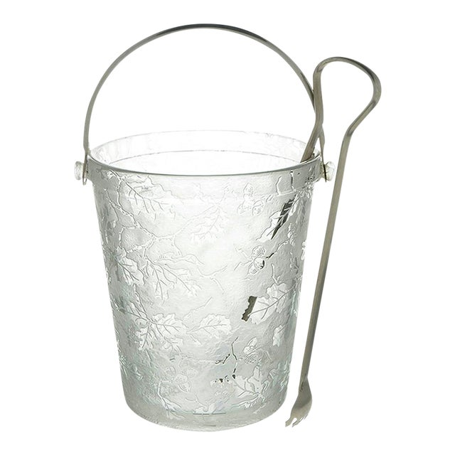Fostoria Oak Leaf Clear Ice Bucket With Detachable Handle and Tongs For Sale